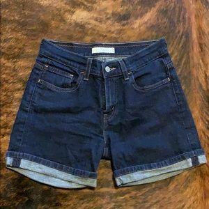 Levi 515 dark wash cuffed stretch denim shorts